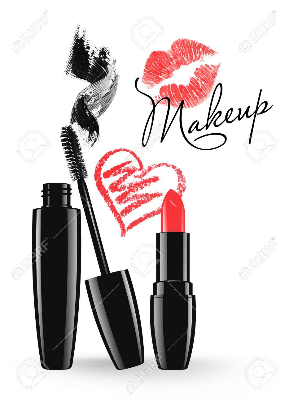 Cosmetic product design vector illustration. Makeup mascara tube, brush and stain, red lipstick and doodle heart isolated over white background - 61350664
