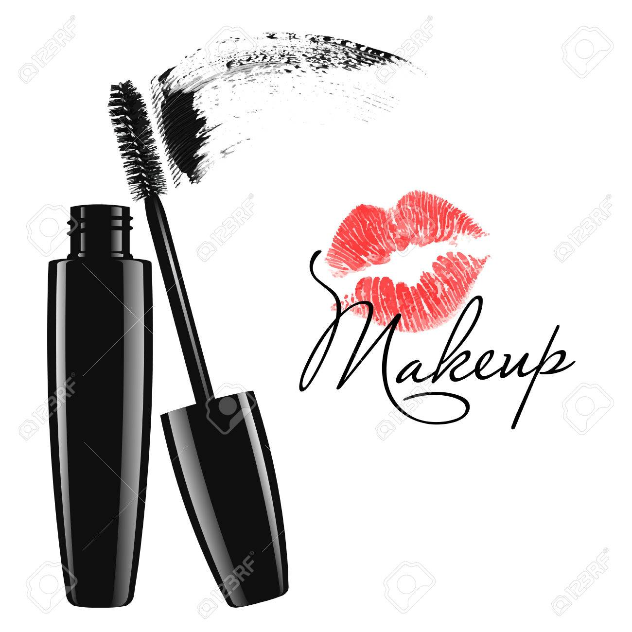 Cosmetic product design vector illustration. Makeup mascara tube,..