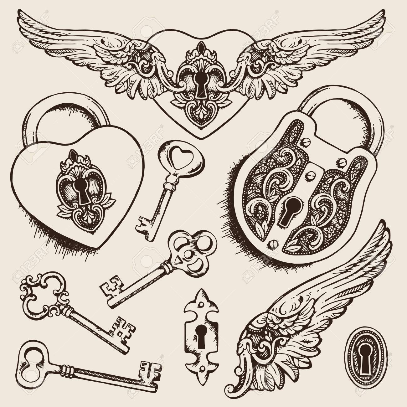 Keys and locks Vector illustration. Coloring book page for kids and adults - 61351073