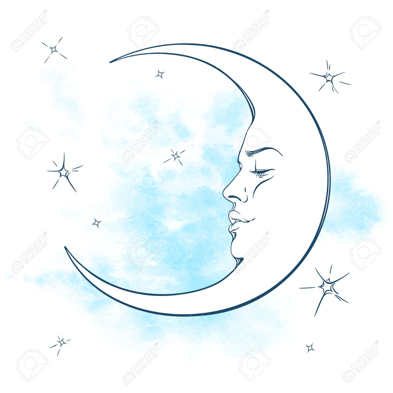 Blue crescent moon and stars vector illustration. Hand drawn tattoo design, astrology, alchemy, magic symbol isolated over abstract watercolor background - 61351084