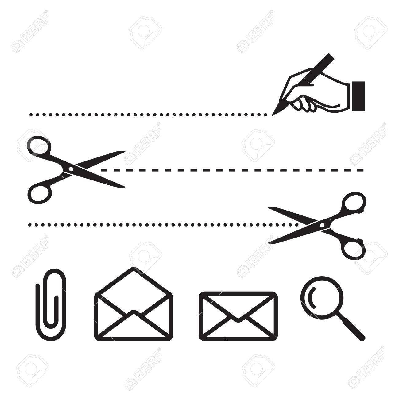 Vector Schere Geschnitten Linien Und Symbole Für Notebook, Form Oder ...