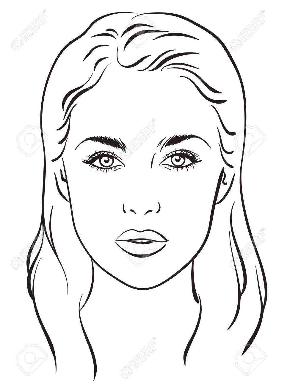 Beautiful woman portrait face chart makeup artist blank template beautiful woman portrait face chart makeup artist blank template vector illustration stock vector pronofoot35fo Gallery