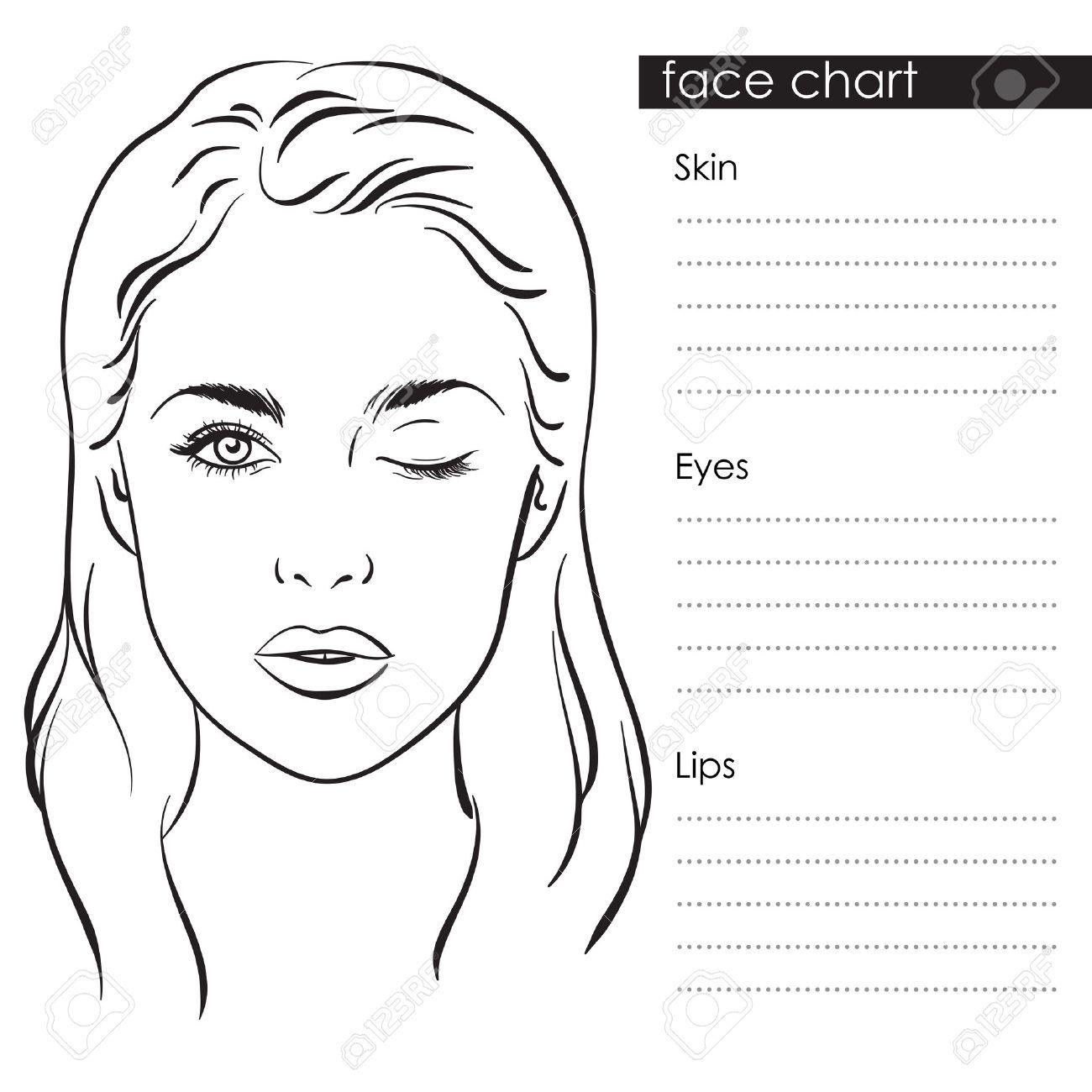 Beautiful Woman Portrait. Face Chart Makeup Artist Blank Template ...