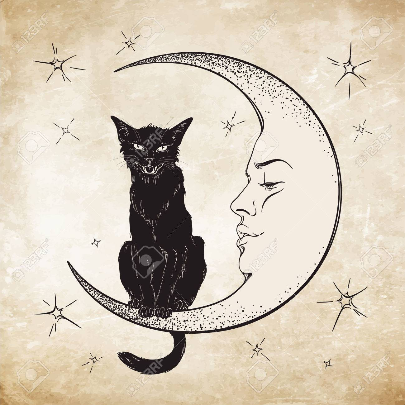 Black cat sitting on the moon. Wiccan familiar spirit vector illustration - 61784351