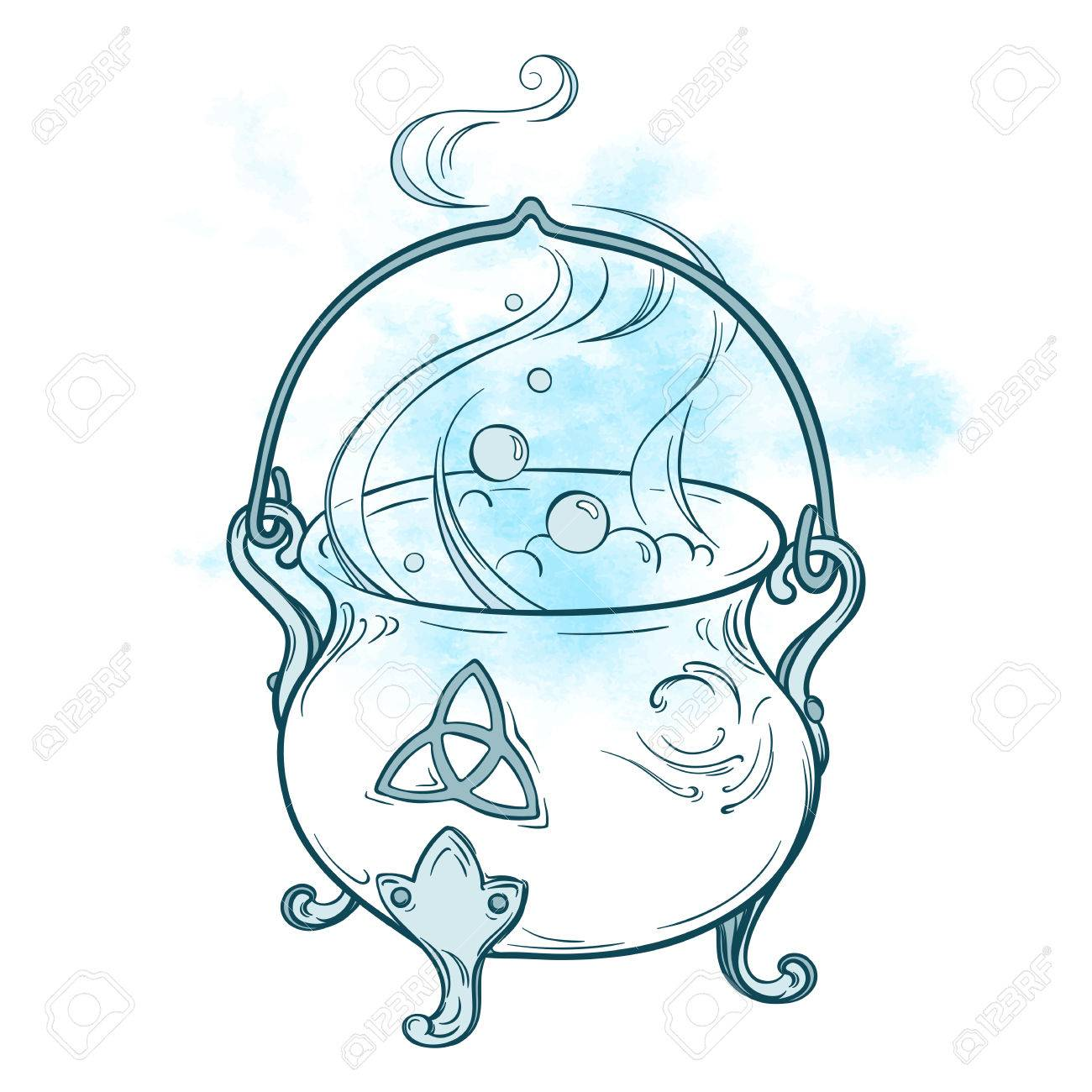 Blue boiling magic cauldron. Hand drawn wiccan design, astrology, alchemy, magic symbol isolated over abstract watercolor background vector illustration - 63714421