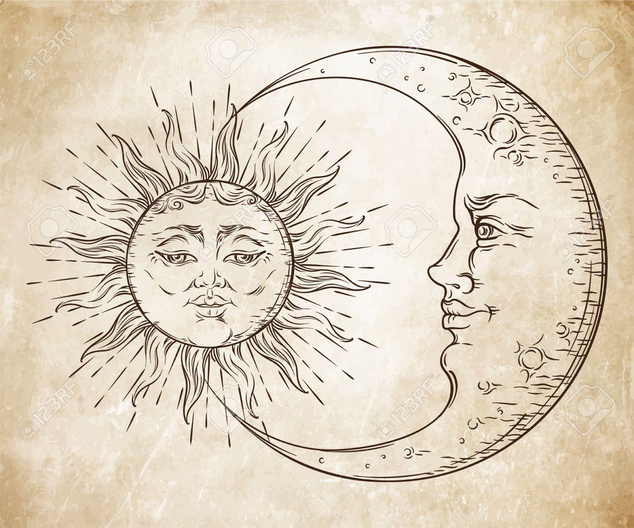 Main De Style Antique Art Dessiné Soleil Et Croissant De Lune Boho Tatouage Chic Design Vector Illustration