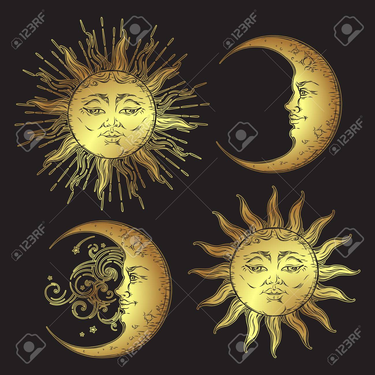 Antique style hand drawn art sun and crescent moon set. Boho design vector golden isolated on black background - 68971088