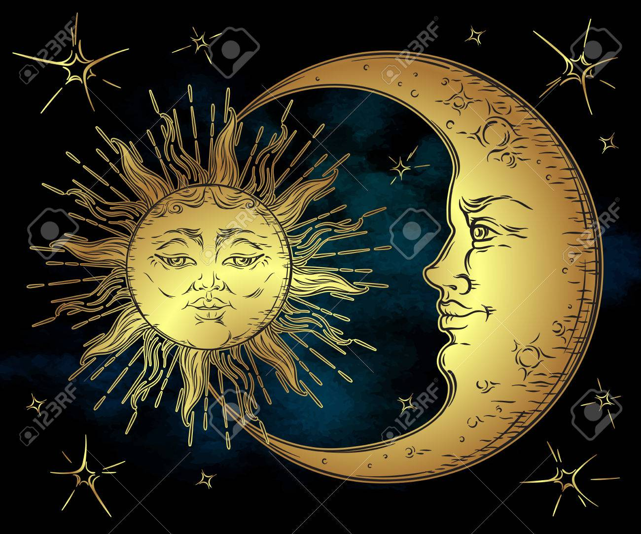 Antique style hand drawn art golden sun, crescent moon and stars over blue black sky. Boho chic tattoo design vector illustration - 68807060