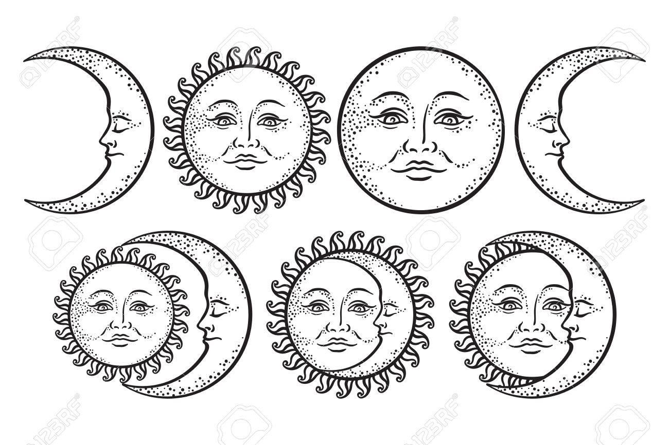 boho flash tattoo design hand drawn art sun and crescent moon