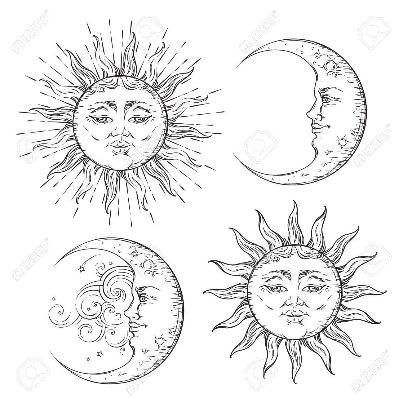 Boho Flash Conception De Tatouage Dessiné à La Main Art Soleil Et Ensemble Croissant De Lune Vecteur De Conception De Style Antique Isolé Sur Fond