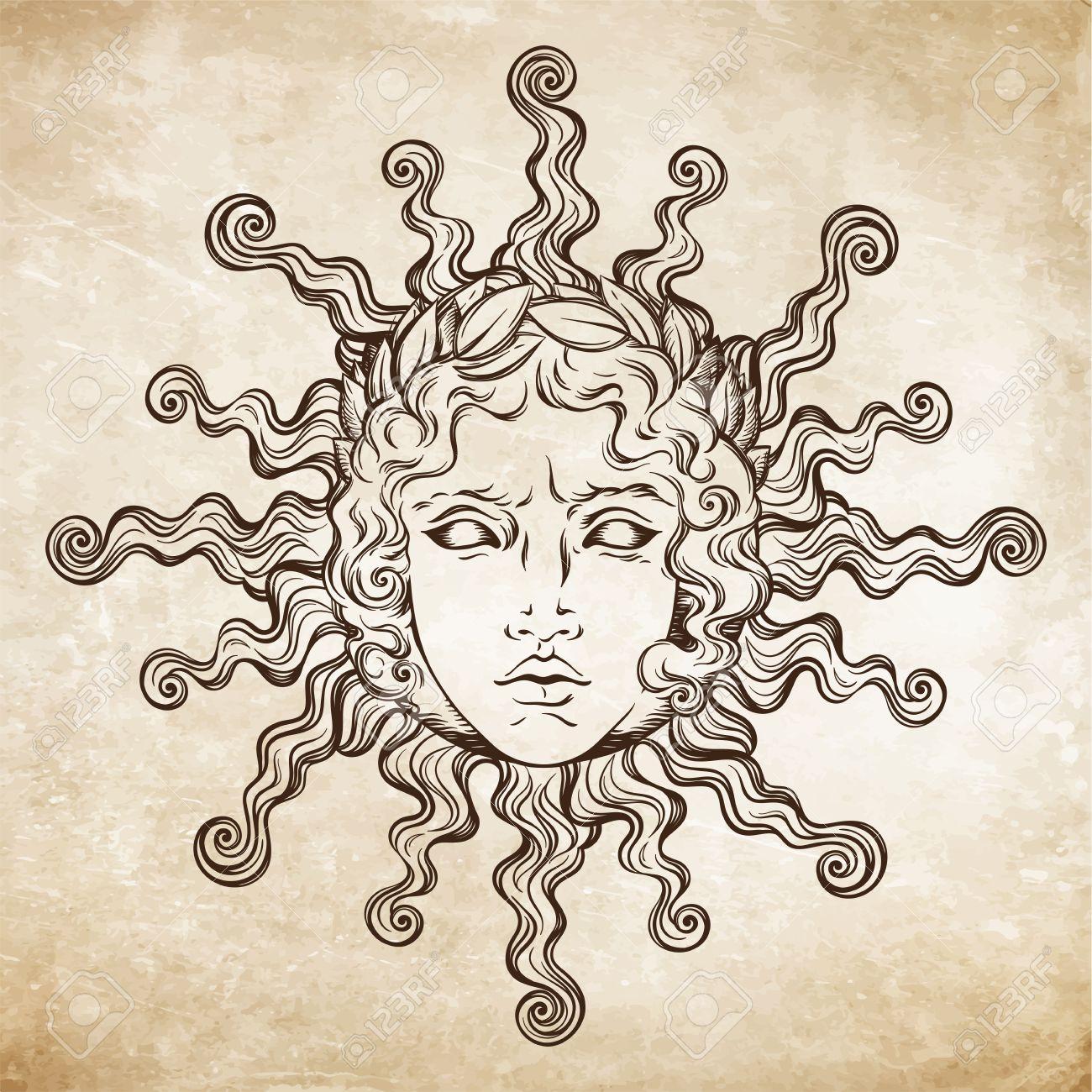 Le Soleil De Style Antique Dessine A La Main Avec Le Visage Du Dieu