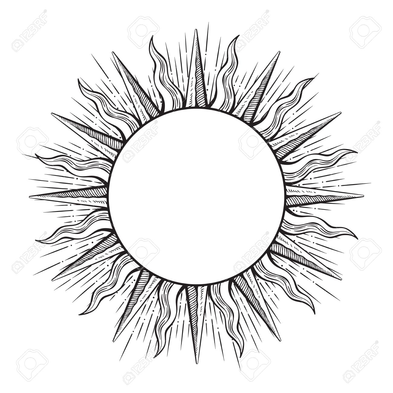 Hand drawn etching style frame in a shape of sun rays vector illustration. - 83410353
