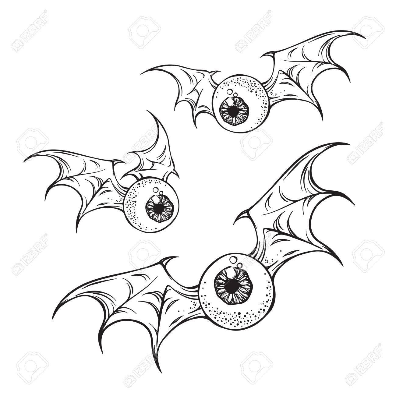 Volando Globos Oculares Con Espeluznante Demonio Alas En Blanco Y ...