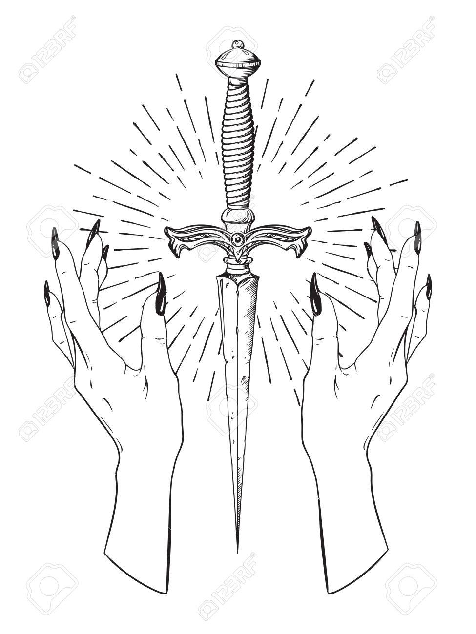 Ritual dagger in female hands with rays of light isolated on white background hand drawn vector illustration. Black work, flash tattoo or print design. - 86737732