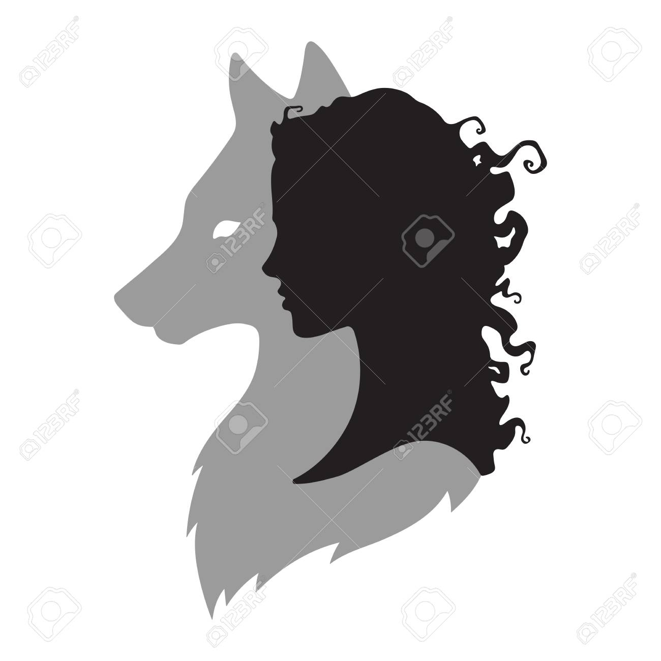 Silhouette of beautiful woman with shadow of wolf isolated. Sticker, print or tattoo design vector illustration. Pagan totem, wiccan familiar spirit art. - 88118460
