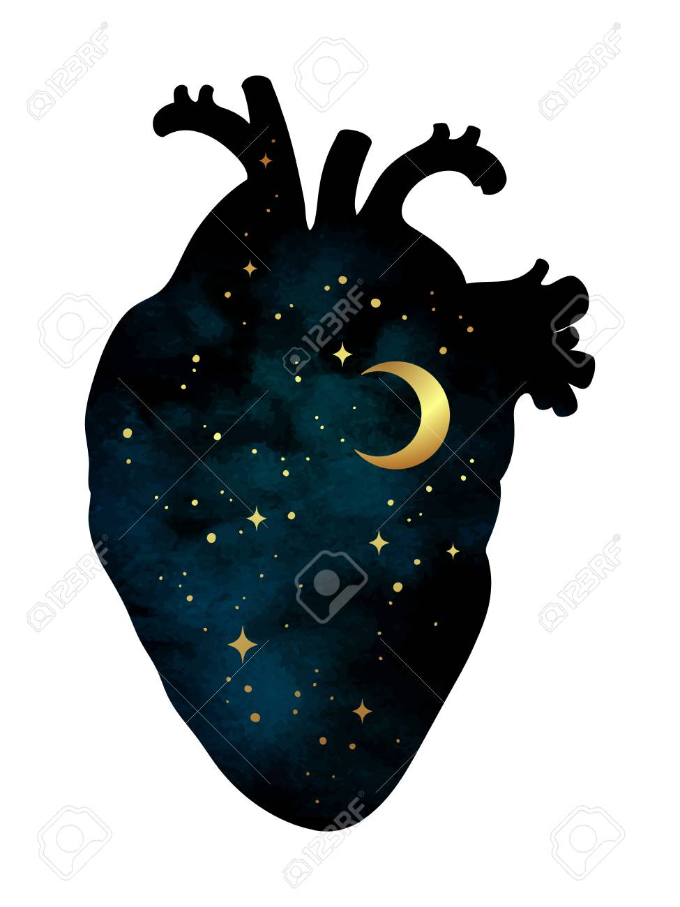 Silhouette of human heart with universe inside. Crescent moon and stars. Sticker, print or tattoo design vector illustration isolated - 88614881