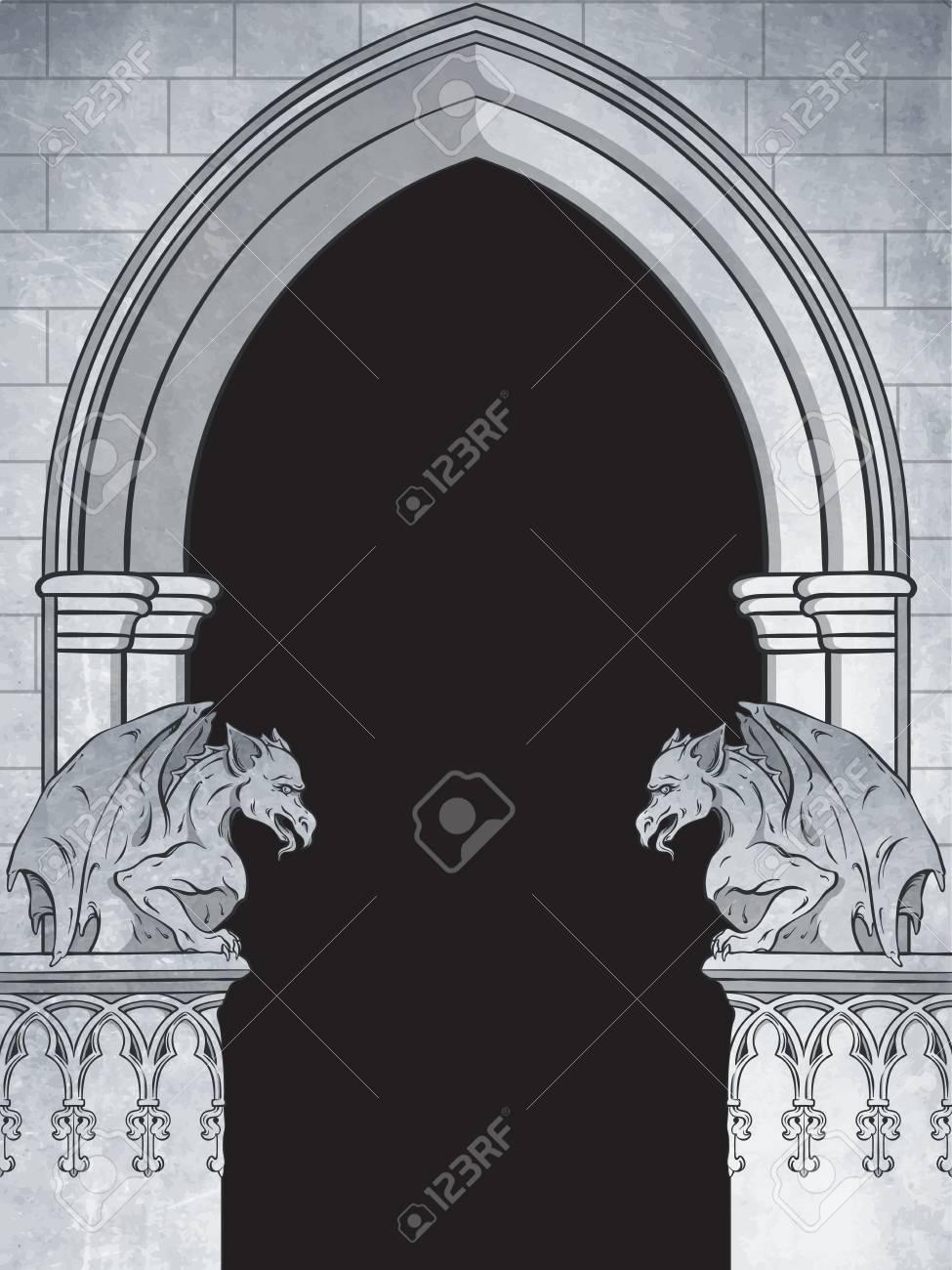 Gothic arch with gargoyles hand drawn vector illustration. Frame or print design. - 89979366
