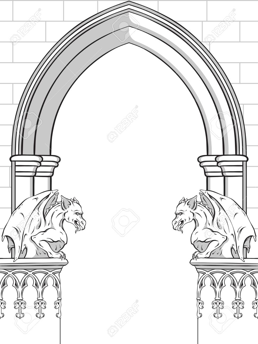 Gothic Arch With Gargoyles Hand Drawn Vector Illustration Frame Or Print Design Stock