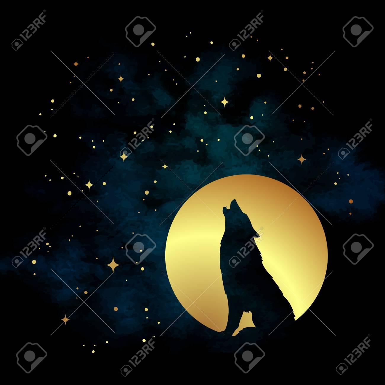 Silhouette De Loup Hurlant A L Illustration Vectorielle De La Pleine