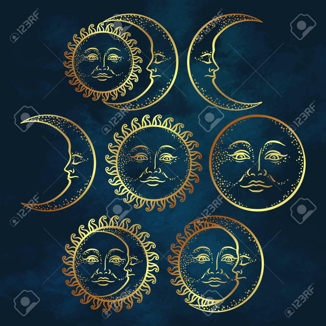 Boho Chic Flash Design De Tatouage Main Art Dessiné Or Soleil Et Croissant De Lune Illustration Vectorielle De Style Antique Design
