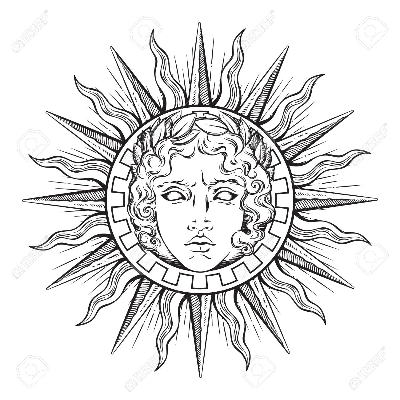 Hand Drawn Antique Style Sun With Face Of The Greek And Roman