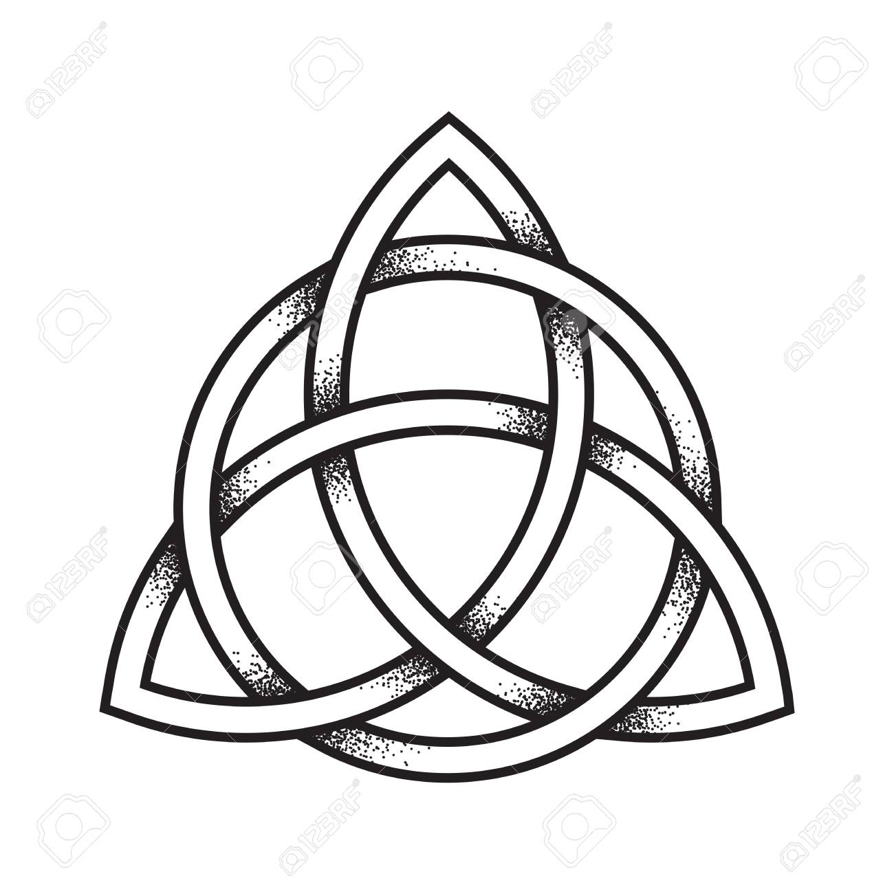 Triquetra Or Trinity Knot. Hand Drawn Dot Work Ancient Pagan ...