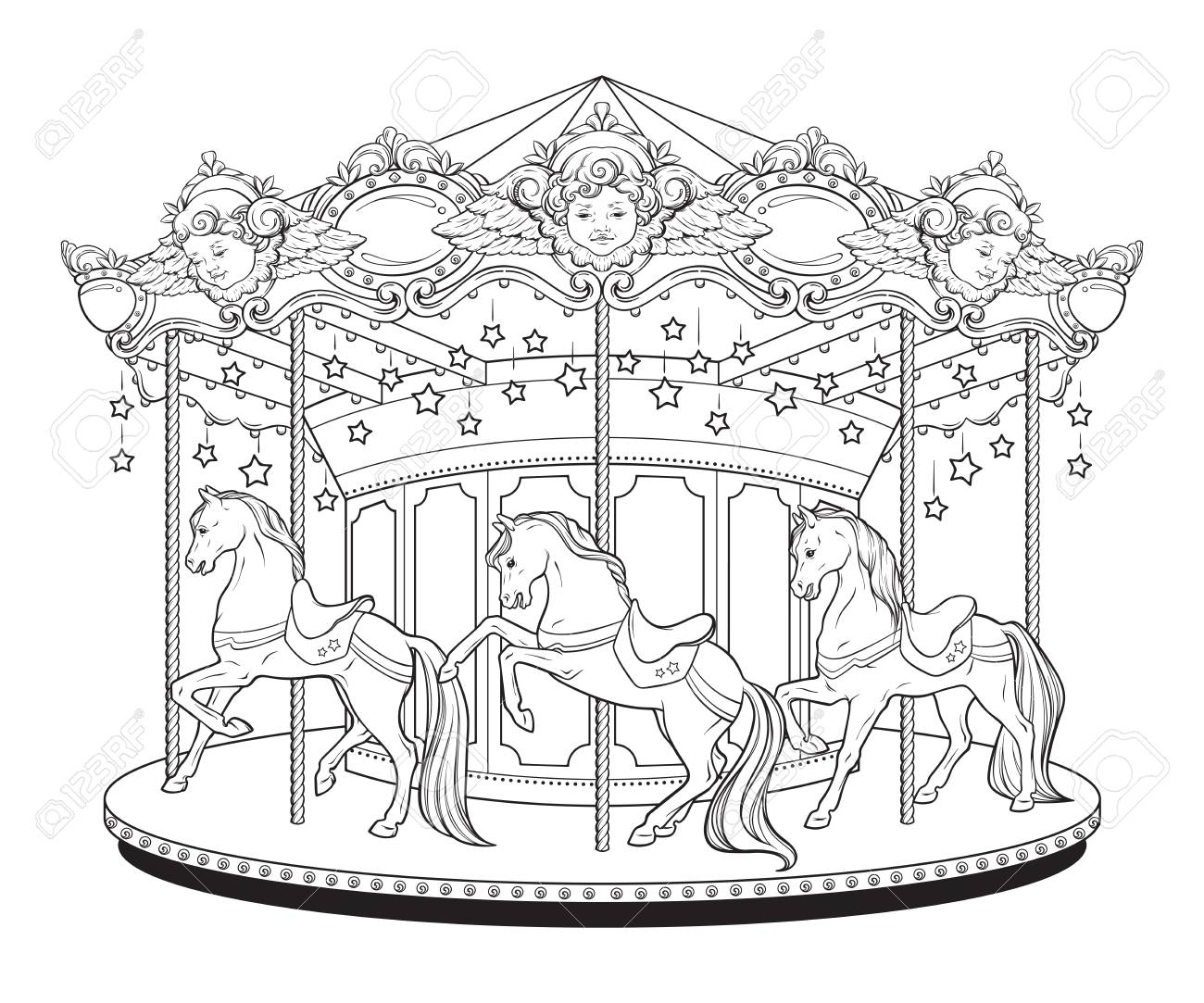 Carousel La Belle Epoque, Cute Merry Go Round With Horses Coloring ...