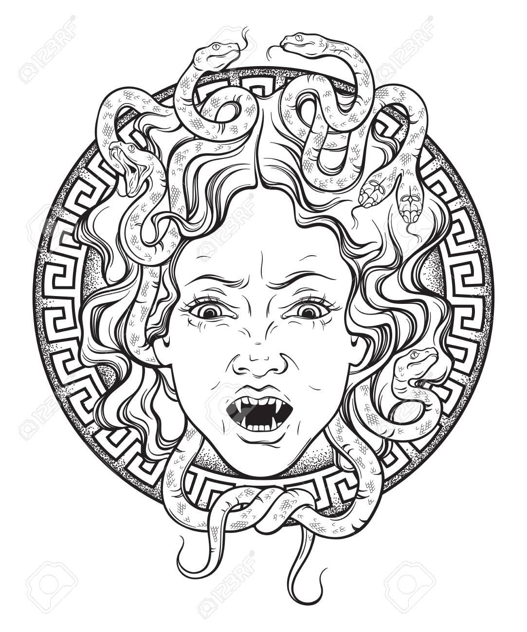 Saiya Power Upgrade: Stone Arsenal (Gorgon Form) 97677744-medusa-gorgon-head-on-a-shield-hand-drawn-line-art-and-dot-work-tattoo-or-print-design-isolated-vect