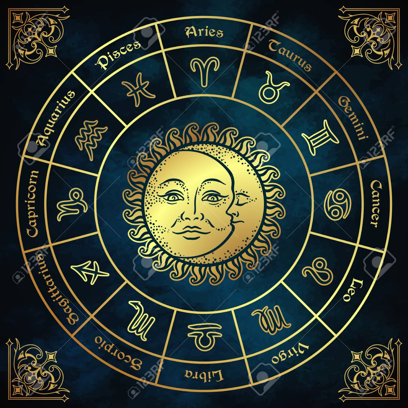Zodiac circle with horoscope signs, sun and moon hand drawn vintage style vector illustration design. - 101197466