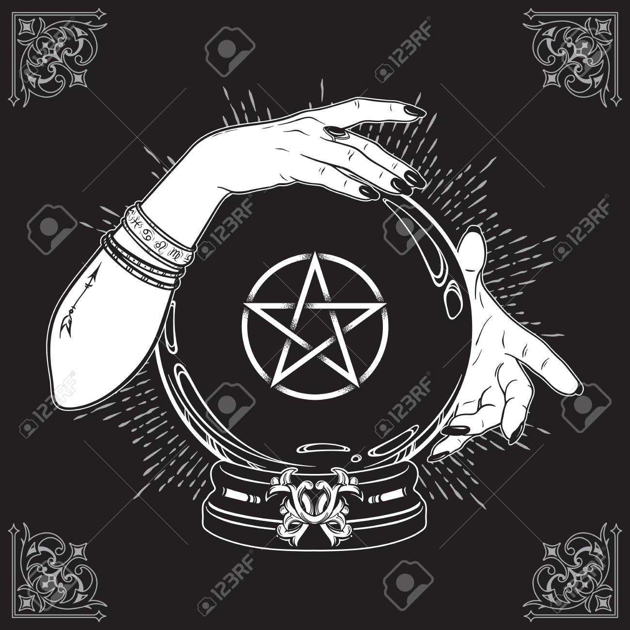 Hand drawn magic crystal ball with pentagram star in hands of fortune teller line art and dot work. Boho chic tattoo, poster or altar veil print design vector illustration - 102007835
