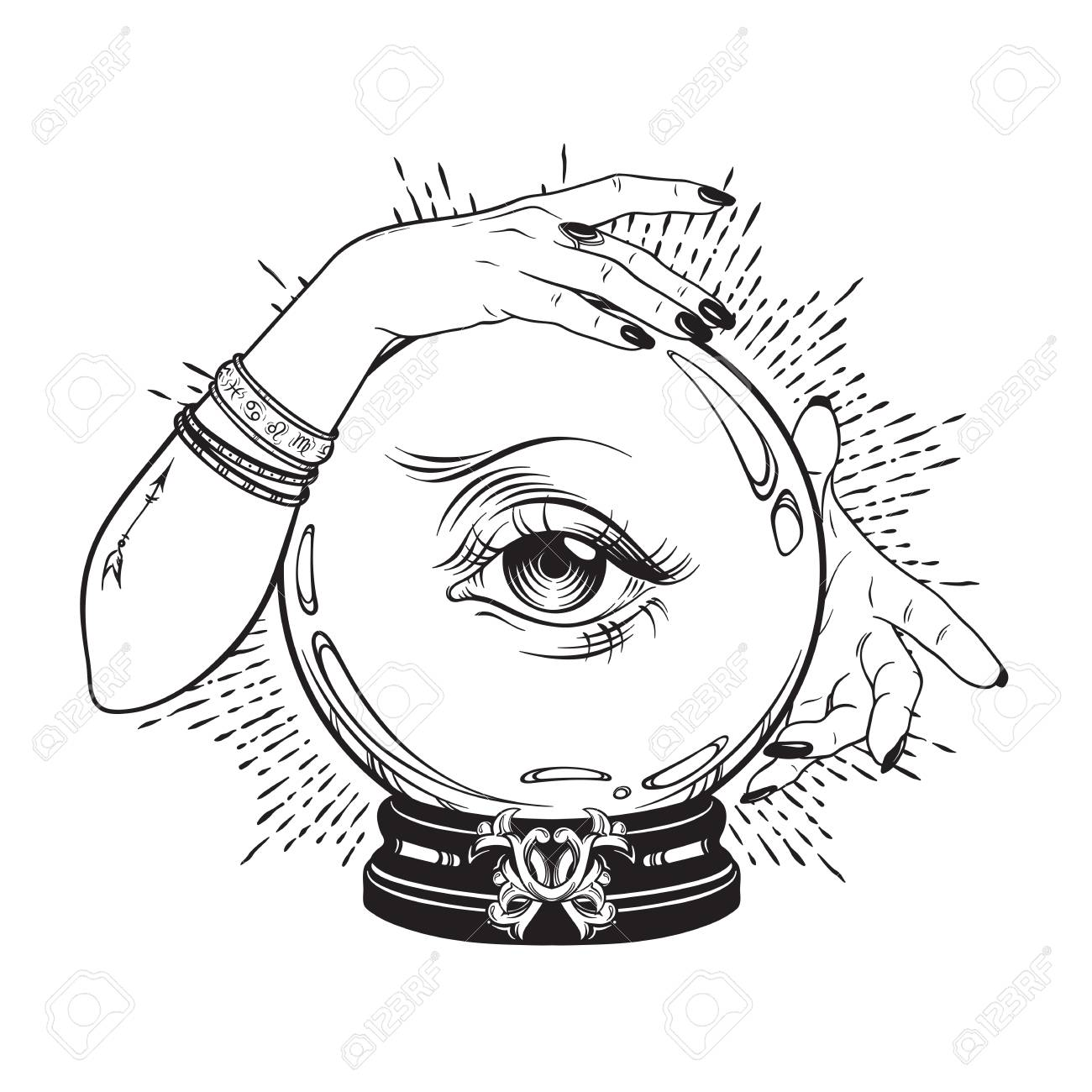 Hand drawn magic crystal ball with eye of providence in hands of fortune teller. Boho chic line art tattoo, poster or altar veil print design vector illustration - 103010579