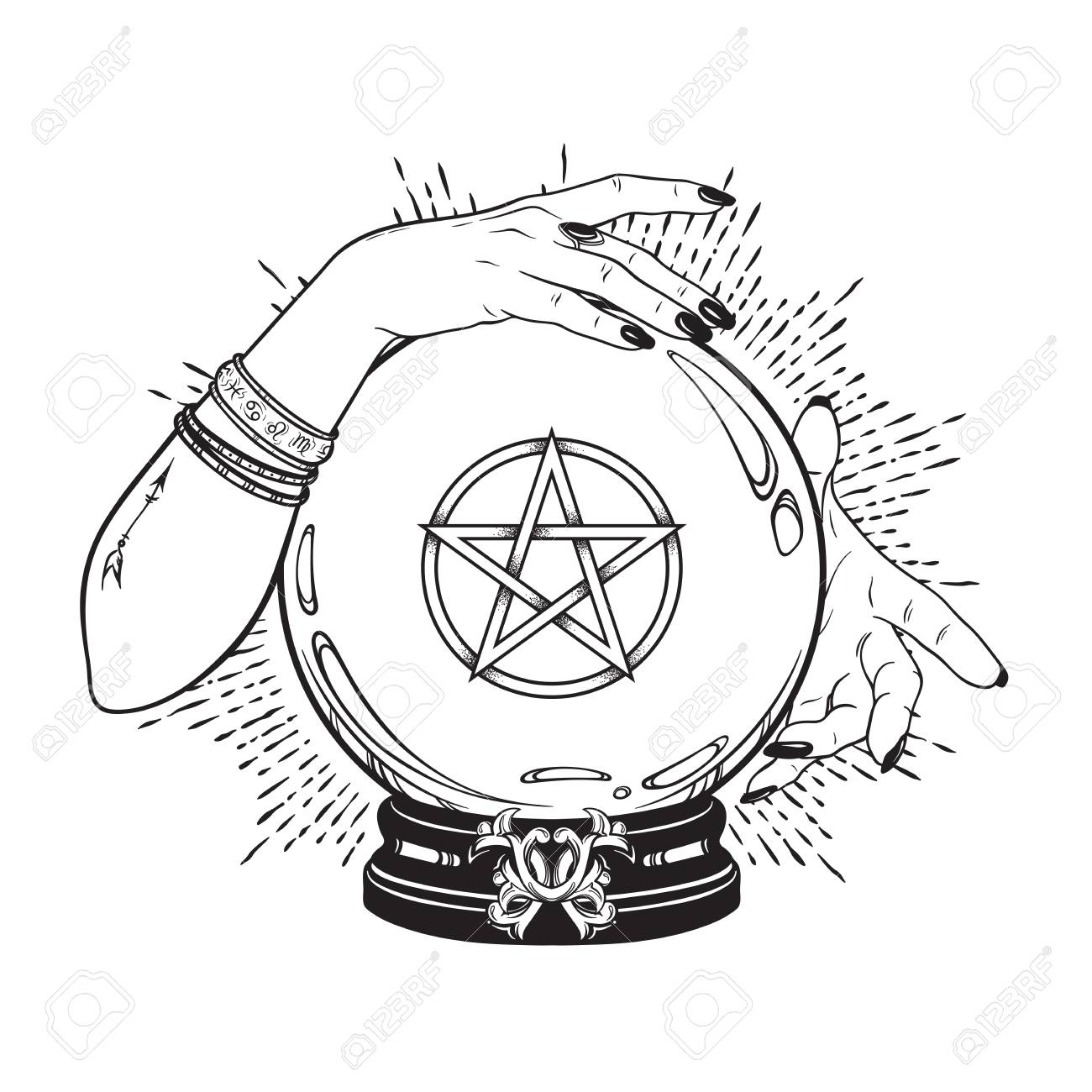 Hand Drawn Magic Crystal Ball With Pentagram Star In Hands Of