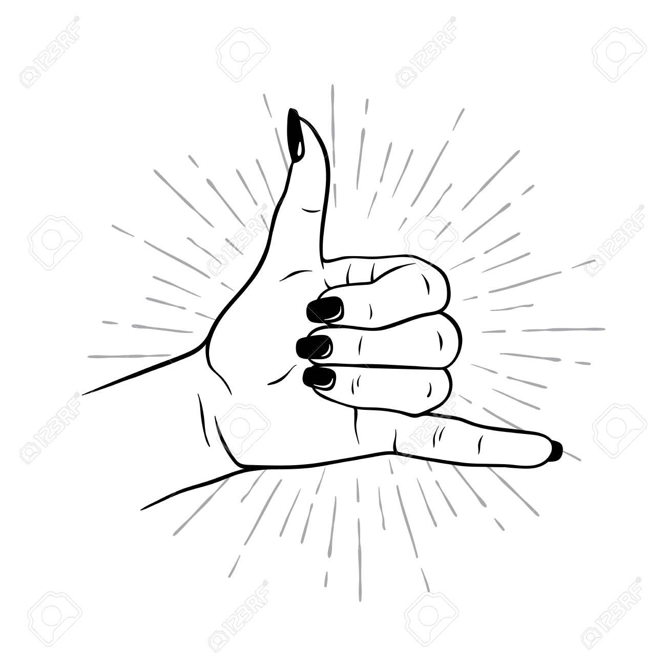 hand drawn female hand in shaka gesture flash tattoo blackwork