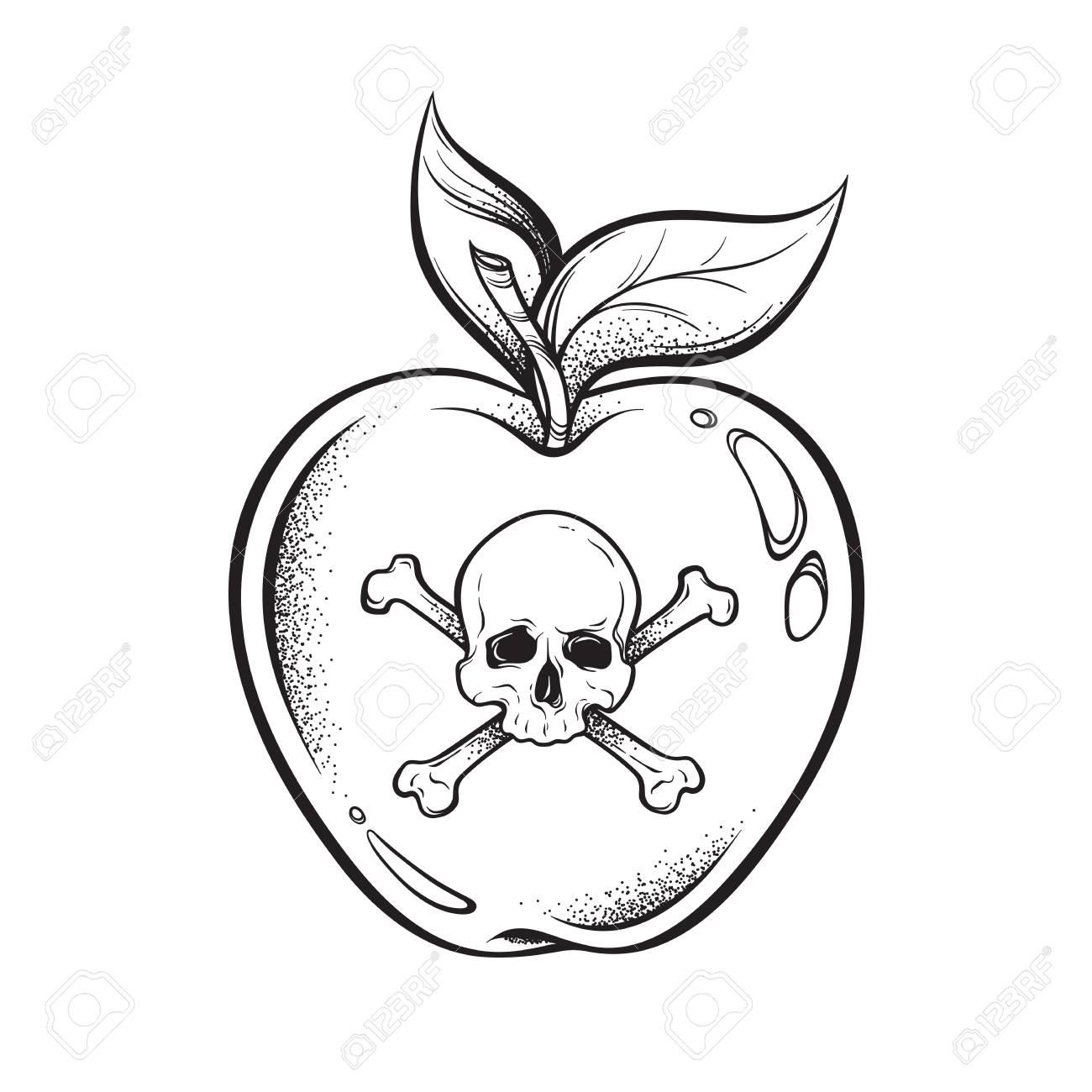 Poison apple line art and dot work hand drawn vector illustration. Boho style sticker, patch, print or blackwork flash tattoo design - 104282220