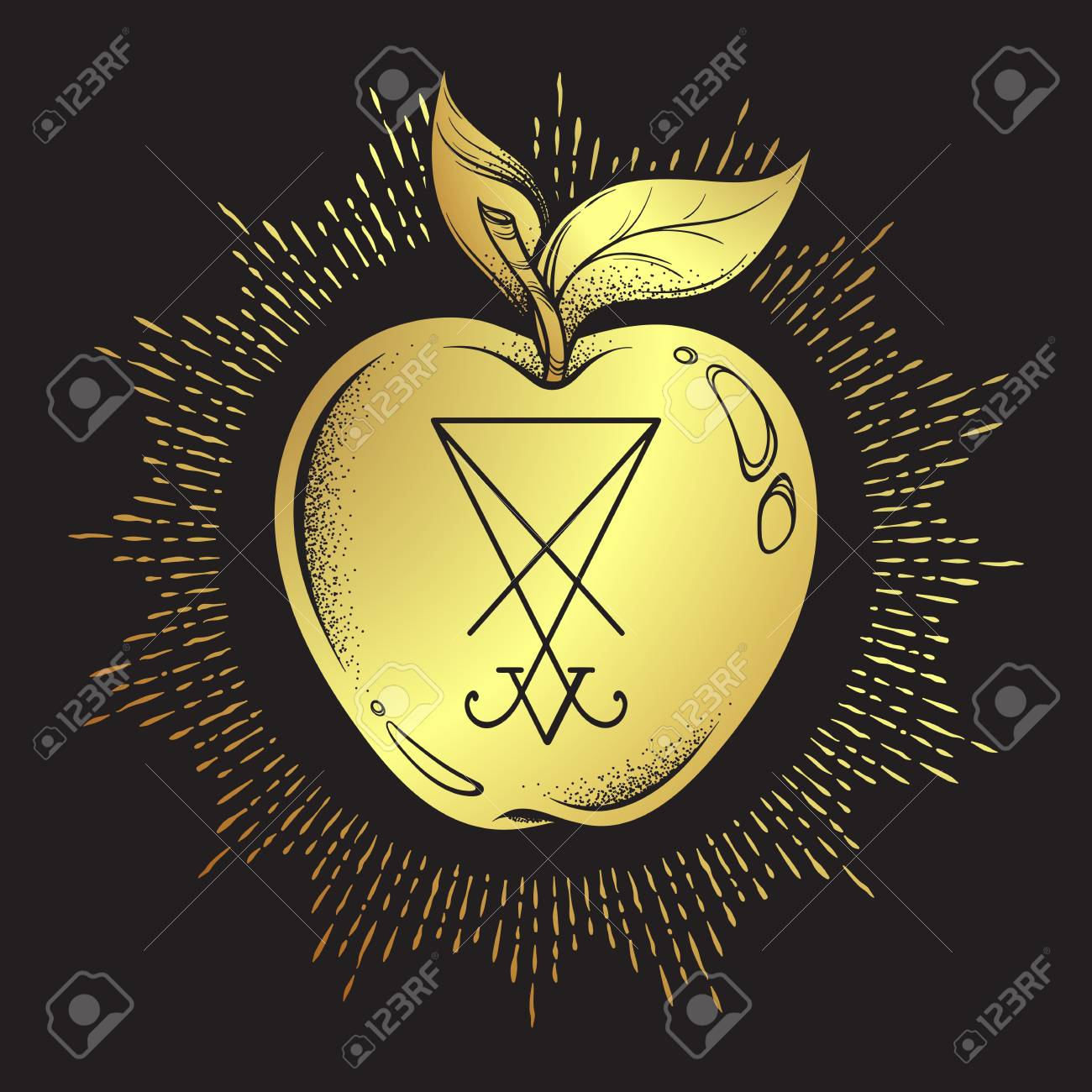 Forbidden Fruit Apple From The Tree Of Knowledge With He Sigil