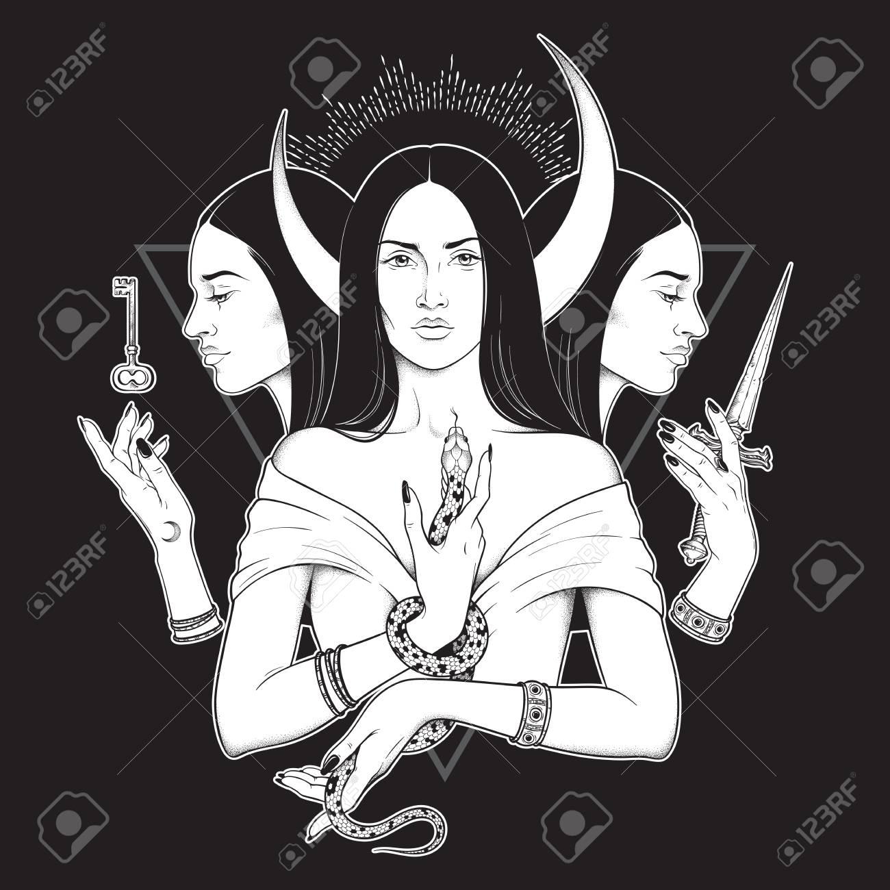 Triple lunar Goddess Hecate ancient Greek mythology hand drawn black and white isolated vector illustration. Blackwork, flash tattoo or print design - 116796949