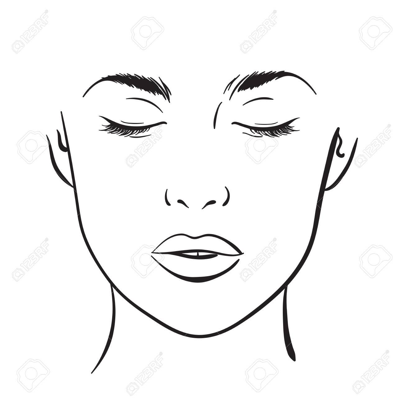 Beautiful Woman Portrait Face Chart Makeup Artist Blank Template