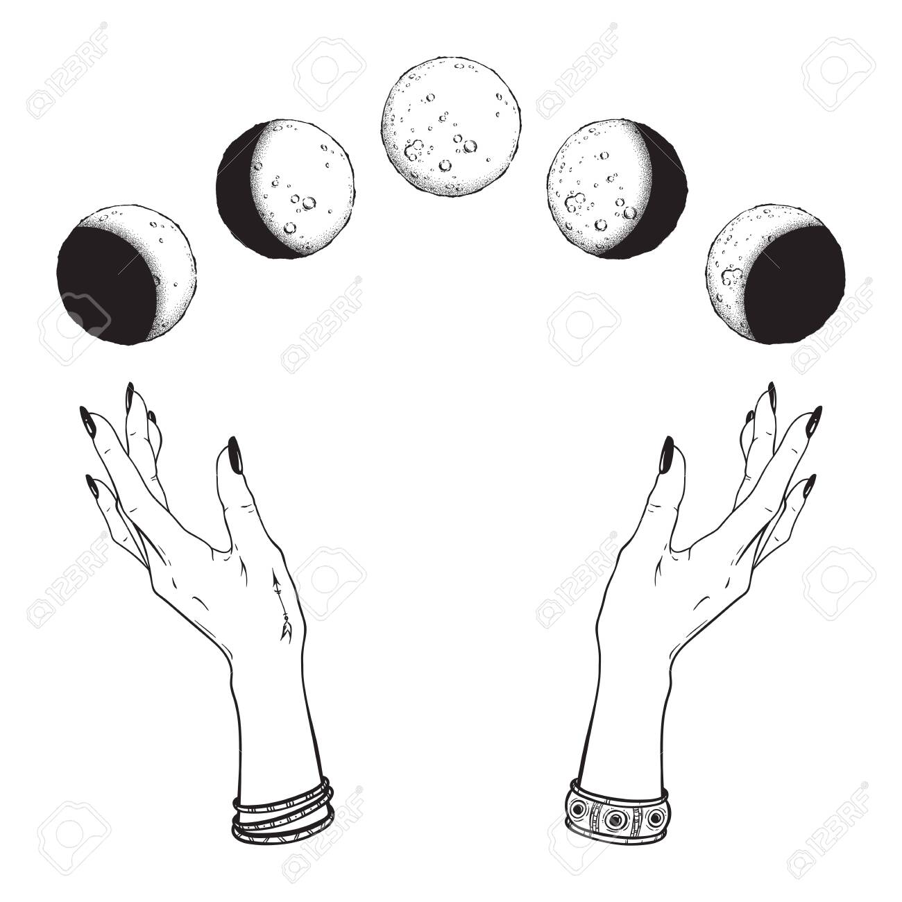 Hand drawn line art and dot work moon phases in hands of witch isolated. Boho chic flash tattoo, poster, altar veil or tapestry print design vector illustration - 124019012