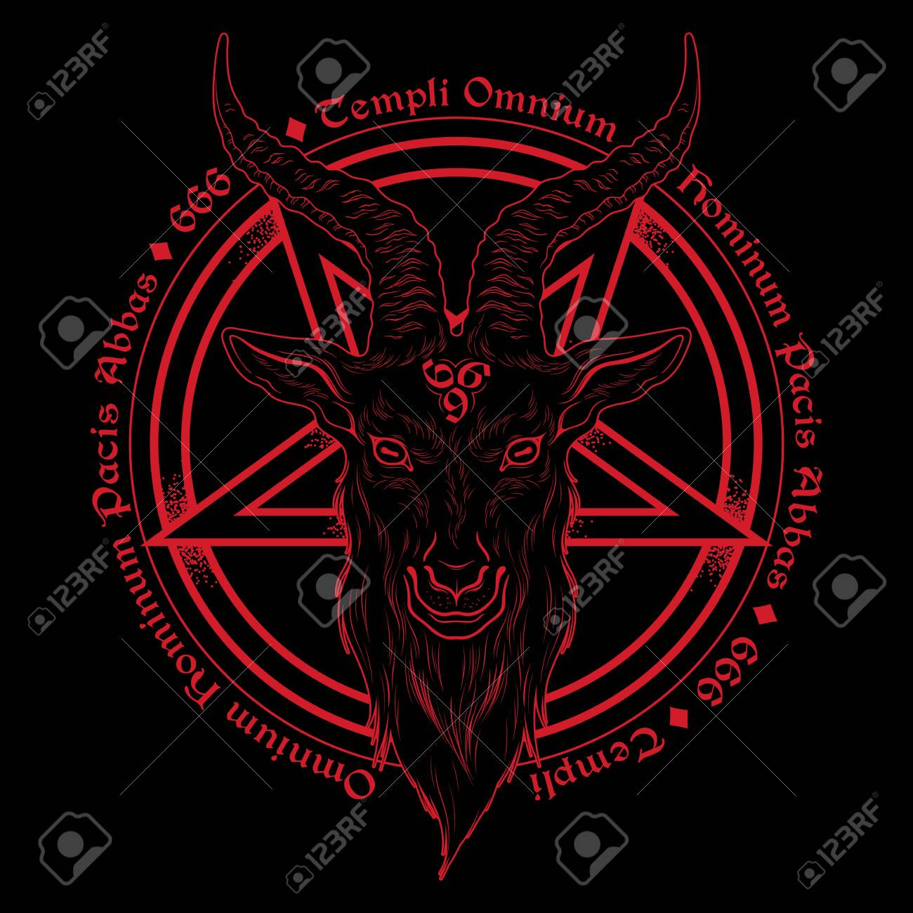 Baphomet Demon Goat Head Hand Drawn Print Or Black Work Flash Royalty Free Cliparts Vectors And Stock Illustration Image 126003986