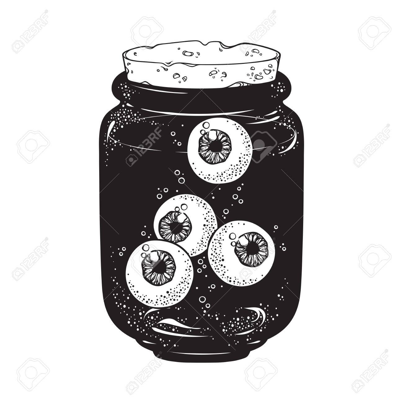 Human eyeballs in glass jar isolated. Sticker, print or blackwork tattoo hand drawn vector illustration - 135608607