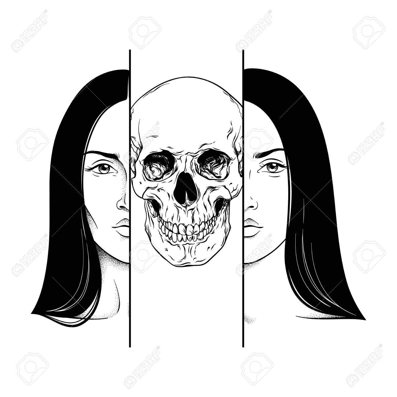 Death In The Guise Of A Woman Hand Drawn Black And White Line Royalty Free Cliparts Vectors And Stock Illustration Image 135608608