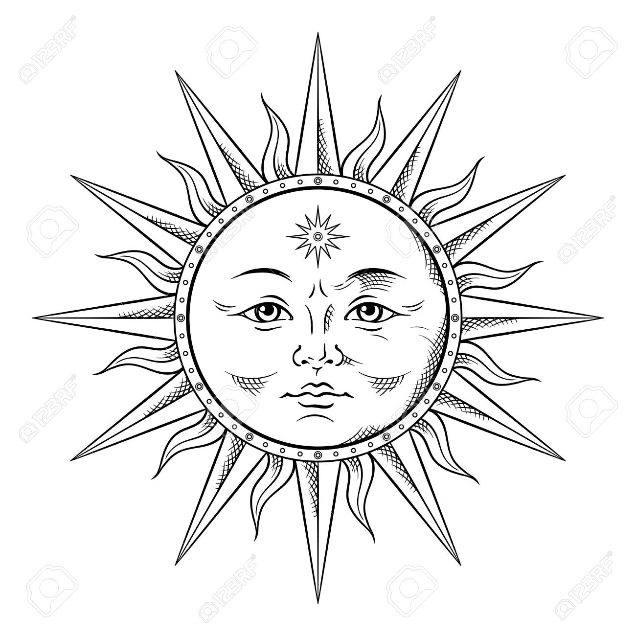 Antique style gold sun hand drawn line art. Boho chic tattoo, poster, altar veil, tapestry or fabric print design vector illustration - 135608610
