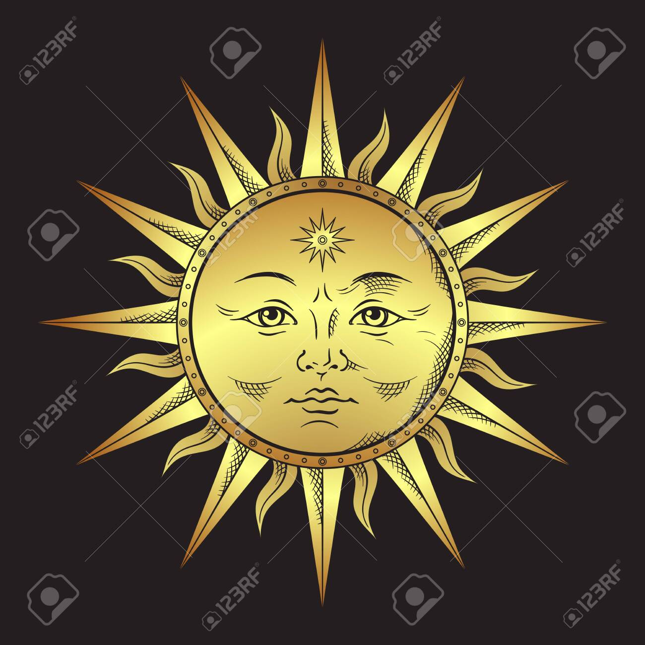 Antique style gold sun hand drawn line art. Boho chic tattoo, poster, altar veil, tapestry or fabric print design vector illustration - 135608611