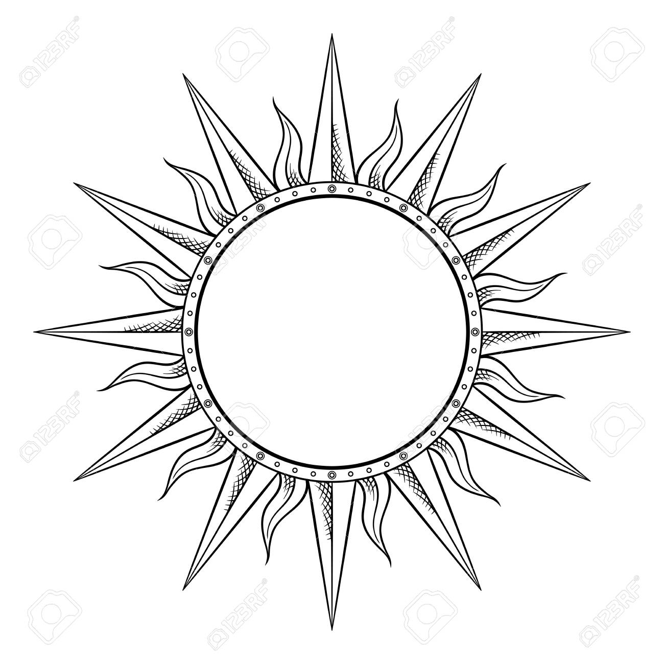Hand drawn etching style frame in a shape of sun rays vector illustration. - 135608609
