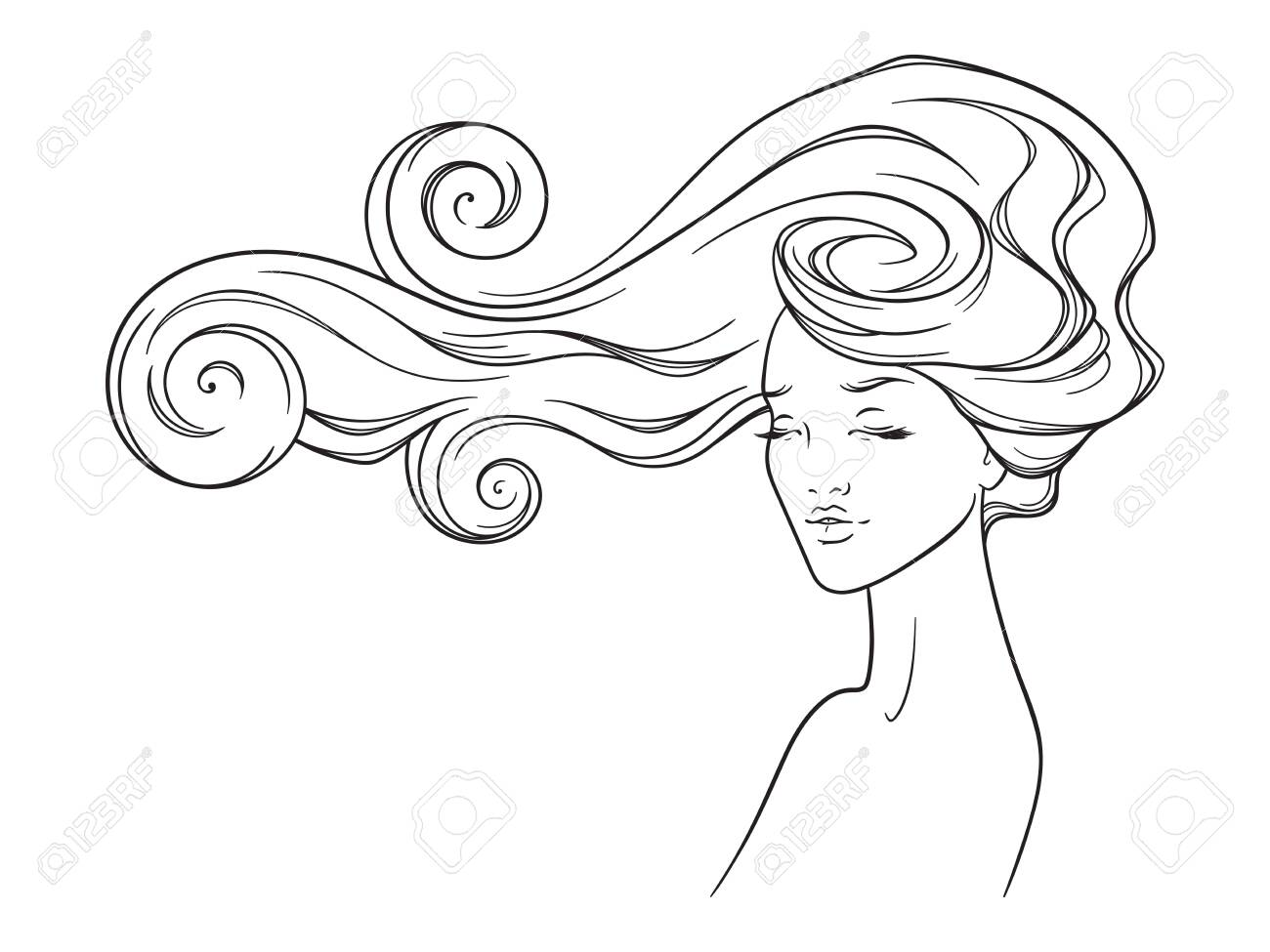 Beauty salon design. Portrait of pretty young woman with long beautiful eyelashes and splendid curly hair. Vector illustration - 141785000