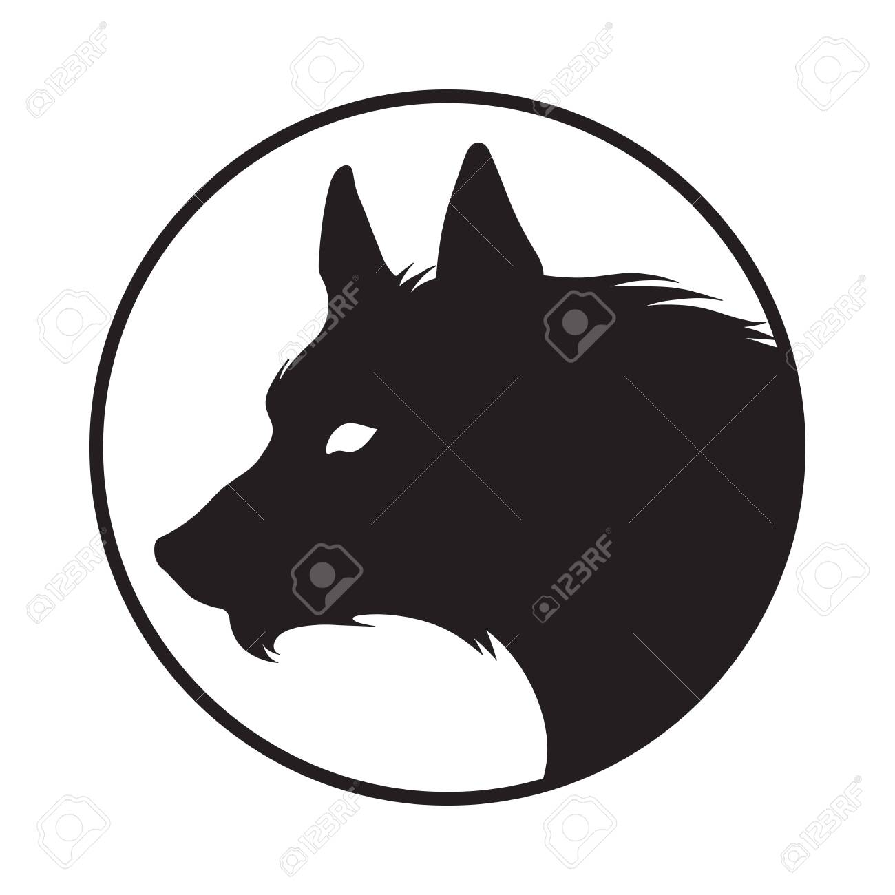 Silhouette of the wolf isolated. Logo, sticker, print or tattoo design vector illustration. Pagan totem, wiccan familiar spirit art. - 141785005