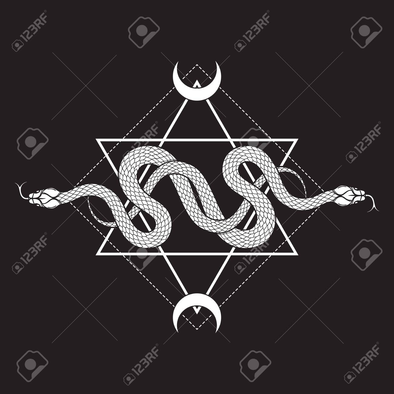 Two serpents over the six pointed star line art boho chic tattoo, poster, tapestry or altar veil print design vector illustration - 140337554