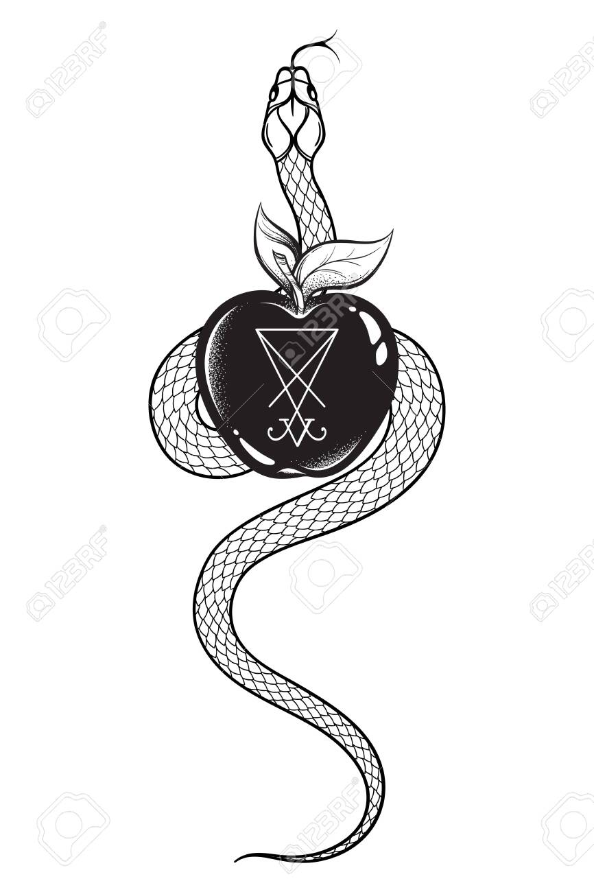 Serpent with the forbidden fruit from the tree of knowledge with the sigil of Lucifer line art and dot work. Boho chic tattoo, poster, tapestry or altar veil print design vector illustration - 142447736