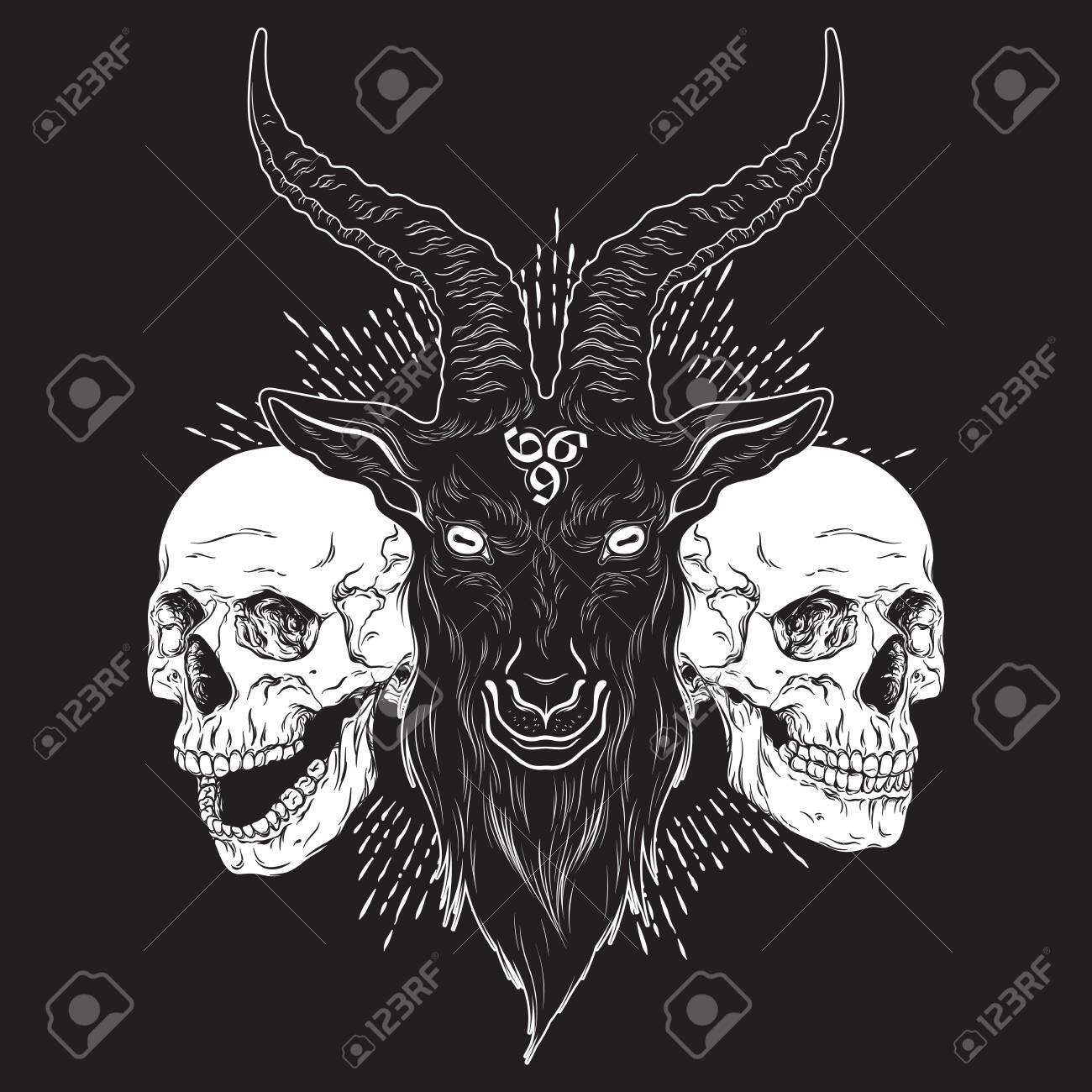 Baphomet demon goat head and human skulls hand drawn print or blackwork flash tattoo art design vector illustration - 145539277