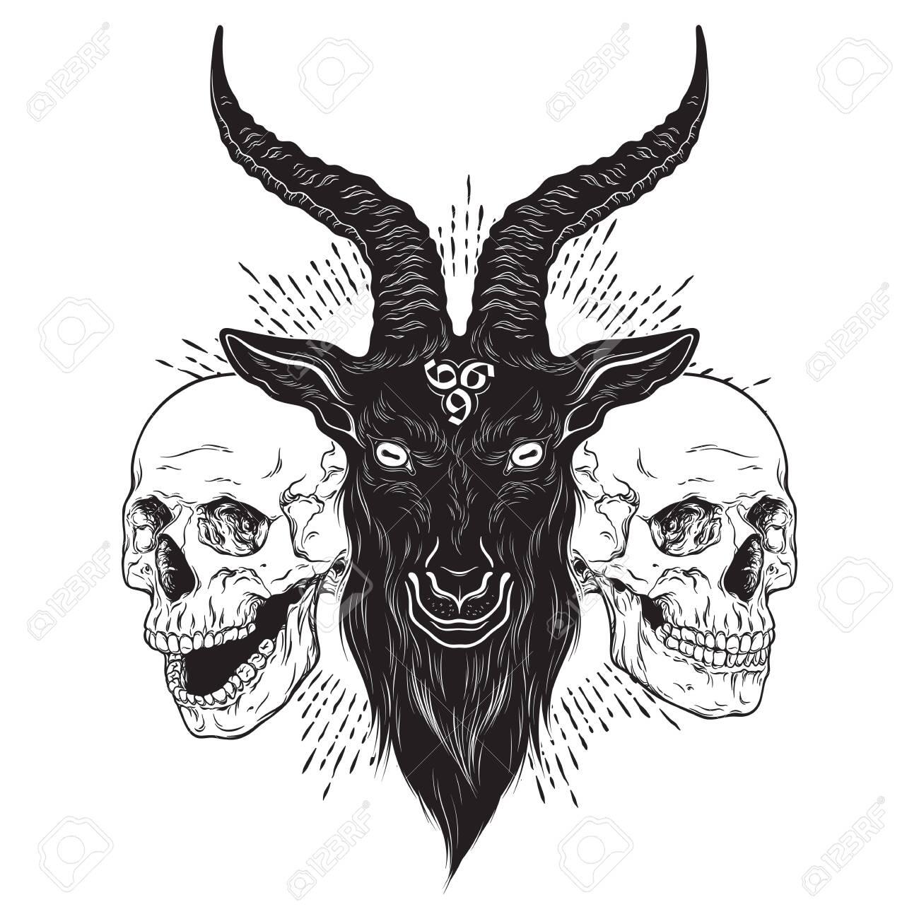 Baphomet demon goat head and human skulls hand drawn print or blackwork flash tattoo art design vector illustration - 145539351